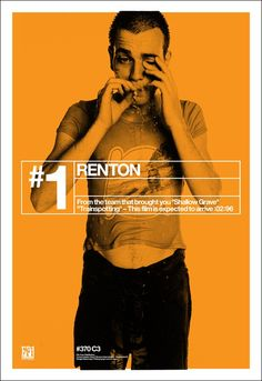 Ewan McGregor in Trainspotting poster. Directed by Danny Boyle, movie released in 1996.
