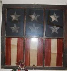 Old windows - reverse paint: 2 white stars per top panel - let dry, paint around stars with blue paint; paint bottom panels with red and white stripes.