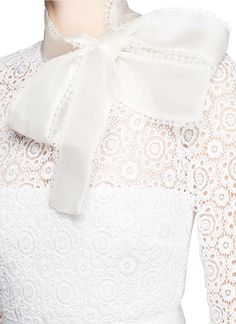 Self-portrait Long-sleeve Pleated Lace-trim Gown in White (OFF ...