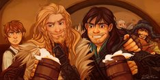 Gorgeous awesome hobbit art! I adore Fili & Kili <3 Plus Frodo's expression is priceless.