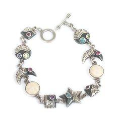Gemstone Sterling Bracelet Moon Face Links Stars Celestial #maninthemoon #mystical #jewelry #vintagebracelet #gemstones #fashion #celestial