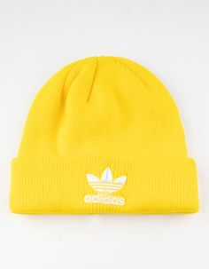 Ribbed knit beanie with adidas trefoil logo on cuff. Outfits With Hats, Trendy Outfits, Fashion Outfits, Yellow Beanie, Yellow Hats, Knit Beanie, Beanie Hats, Adidas Beanie, Yellow Adidas