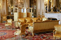 Buckingham Palace. Buckingham Palace  The White Drawing Room.     The Royal Family gathers here before meeting guests in the music room.