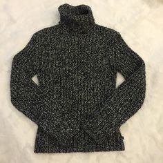 Salt & Pepper Crochet Sweater Polo by Ralph Lauren. Thick crochet sweater with soft turtle neck. Size small but fits small/medium Polo by Ralph Lauren Sweaters Cowl & Turtlenecks