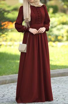 Dilbeste in Lace Dress - Bordeaux dresses red hijab Iranian Women Fashion, Islamic Fashion, Muslim Fashion, Modern Hijab Fashion, Abaya Fashion, Fashion Dresses, Abaya Mode, Mode Hijab, Lace Burgundy Dress