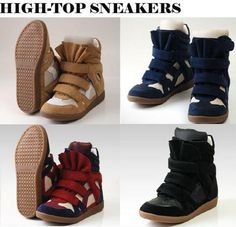 Womens High Top Strap Sneakers