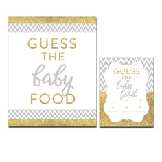 Baby Shower Gray Chevron Gold Glitter - Game Guess the Baby Food - Instant Download Printable