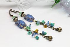 """Boucles d'oreilles Poétiques """"Tortues Océanes"""" Howlite, Jade Mashan, Perles de Verre et Métal Bronze : Boucles d'oreille par lullaby-creations"""