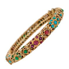 Contemporary Multi Gemstone Gold Bangle Bracelet (For Brooke's birthday when I get rich! Hand Jewelry, India Jewelry, Gold Bangle Bracelet, Gold Bangles, Crystal Engagement Rings, Antique Bracelets, Ancient Jewelry, Gold Set, Gemstone Earrings