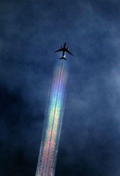 Airplane Flying with Rainbow. Wonderful & Amazing Smoke of Colours. ☺❤