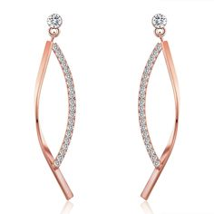 SBLING 18K Rose Gold Plated Cubic Zirconia Drop Earrings (1.5 cttw) ** More info could be found at the image url. (This is an affiliate link) #WomensJewelry