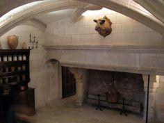 great limestone fireplace