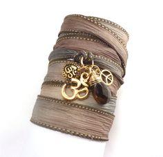 Beautiful handmade bracelet from TheCraftStar.com Silk Wrap Bracelet with Om Charms, Peace Sign and Smoky Quartz, yoga jewelry, wrapped wrapping bracelet, wrap around,wrist wrap