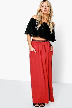 Rosa Estate Jersey Maxi Boohoo Basic Skirt bf6vY7gy