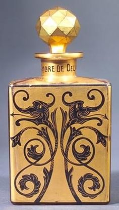 "artemesia-violette:  ""Ambre de Delhi,"" Depinoix perfume bottle for Babani, circa 1920  Visit prices4antiques.com"