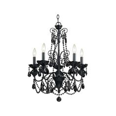 """AF Lighting 7506-5H Elements Series """"Mischief"""" Five-Light Chandelier (¥33,605) ❤ liked on Polyvore featuring home, lighting, ceiling lights, chandeliers, indoor lighting, black chandelier, black chandelier lighting, black lights, beaded chandelier and black lamp"""