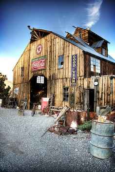 Beautiful old barn with old Coca-Cola signs