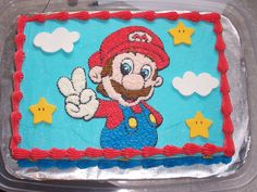 1/4 sheet cake simple | This is a 1/4 sheet cake iced with buttercream. The stars and clouds ...