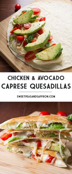 Chicken and Avocado Caprese Quesadillas - fresh and delicious lunch or dinner : sweetpeasandsaffron I Love Food, Good Food, Yummy Food, Healthy Snacks, Healthy Eating, Dinner Healthy, Healthy Cooking, Avocado Recipes, Avacado Meals