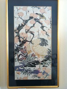 I bought this antique obi (Edo period) that was damaged. I framed a piece and still have enough for a runner........ TSURU (crane)