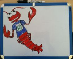 "Amazing dry erase art! Has anyone seen the ""Friends"" episode where Phoebe shares her Lobster theory about love?"