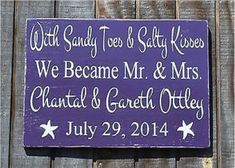 With Sandy Toes and Salty Kisses We Became Mr and Mrs, Beach Wedding Sign, Personalized Wedding Decor, Coral, Purple, Duck Egg Blue, Powder Blue, Tiffany Blue, Turquoise Teal Custom Colors, Anniversary Gift, Eloped Elopement Ideas, Hand Painted