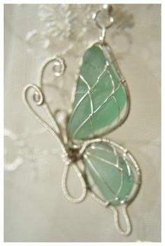 Harmony in your hands. Genuine Teal Sea Glass Jewelry Wire Wrapped Pendant. Unique. Sea glass butterfly. on Etsy, $90.00
