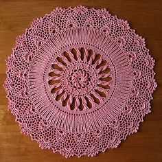 "from Leisure Arts ""Exquisite Doilies""  by Patricia Kristoffersen   DMC® Cebelia Crochet Cotton, Size 10   color: #3326 Wild Rose  15 inches  using a size 5 (1.90mm) steel hook"