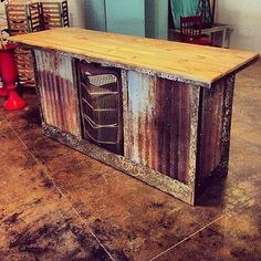 Rustic Bar Table Wood and Metal Bar Hot Rod by IronAlterations Metal Bar, Wood And Metal, Bar Country, Table Baril, Into The Woods, Corrugated Metal, Home And Deco, Rustic Decor, Rustic Wood