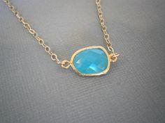 Gold Framed Glass Aqua Blue Necklace Minimalist by LisaDJewelry, $28.00