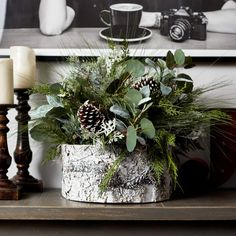 Darby Creek Trading Large Christmas Greenery & Frosted Pinecone Centerpiece Arrangement in White Faux-Birch Base Christmas Topiary, Christmas Mix, Christmas Greenery, Farmhouse Christmas Decor, Primitive Christmas, Christmas Crafts, Christmas Decorations, Christmas Ideas, Pinecone Wedding Decorations