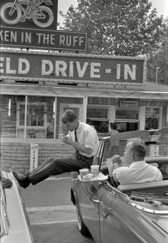 Bobby Kennedy taking a lunch break at the Bluefield Drive-In in Bluefield WV while campaigning for JFK.