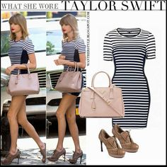 Taylor Swift in stripe black and white mini dress with pink bag and brown oxford pumps