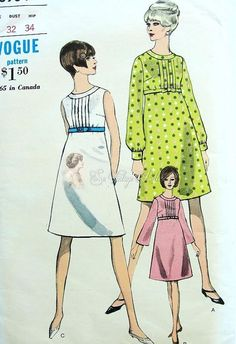 Mod 60s Empire Waist A Line Dress Pattern Sleeveless or 2 Sleeve versions Vogue 6964 Bust 32