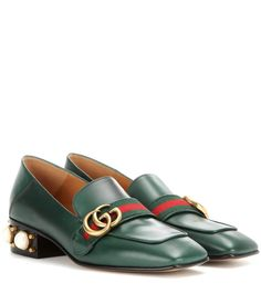 5ee3cb8c1 Leather green mid-heel loafers Leather Loafer Shoes, Heeled Loafers,  Brogues, Green