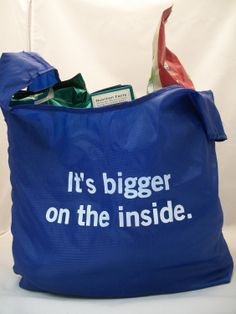 Calling all Doctor Who fans! You can take the TARDIS with you in this cute, re usable shopping tote! $7.00, via Etsy.