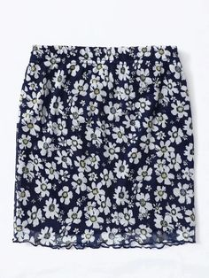 Girls Lettuce Trim Floral Skirt – Kidenhouse Spandex Material, Lettuce, Floral Tie, Girl Skirts, Boho, Navy, Type, Girls, Clothes