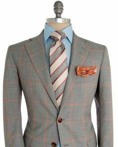 Andrea Campagna Houndstooth with Orange Windowpane Sportcoat 2 button jacket Orange elbow patch jacket Notch lapel Orange melton Partially lined Silk photo print lining Flap pockets Front left chest pocket Double vent wool Made in Italy Sharp Dressed Man, Well Dressed Men, Mens Fashion Suits, Mens Suits, Men's Fashion, Mens Attire, Mode Chic, Men's Wardrobe, Suit And Tie
