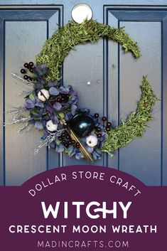DOLLAR STORE WITCHY CRESCENT MOON WREATH Crafts Mad in Crafts Dollar Store Halloween, Dollar Store Crafts, Halloween Diy, Wreath Crafts, Dollar Stores, Craft Tutorials, Craft Projects, Wire Wreath Forms, Faux Pumpkins