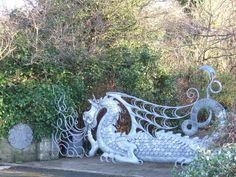 This artistic gate near Fishguard, Wales is the work of a local  blacksmith, Eifion Thomas.