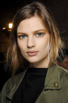 """Finished Skin"" The ""no make-up"" dewy-skinned look has dominated catwalk beauty but there has been an undeniable shift towards groomed, velvety skin carefully prepped with foundation and dusted with a liberal coat of powder. Make-up artists spent five times as long on the skin than the rest of the make-up at Isabel Marant. Also seen at Victoria Beckham, Balmain, Chloe and Stella McCartney 