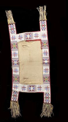 A Sioux beaded saddle blanket Beaded on hide and with a canvas center, trimmed in red cloth and sequins, trailing fringe, ribbons and hawk bells. length Property from the Paul Dyck Foundation. Native American Horses, Native American Regalia, Horse Gear, Horse Tack, Indian Horses, Saddle Blanket, Sand Art, Native Art, Sioux