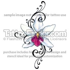 orchid tribal Tattoo Designs For Women | TattooFinder.com : Girly Tribal Orchid tattoo design by Gail Somers