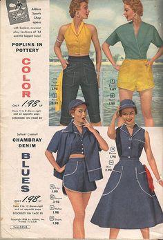 Aldens 1954 1950s Fashion Women, Retro Fashion, Vintage Fashion, Womens Fashion, Classic Fashion, Vintage Pants, Vintage Outfits, Vintage Clothing, 50s Inspired Fashion