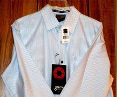 NWT Men's South Pole Long Sleeve Dress Shirt Blue w/White Stripes Size Large