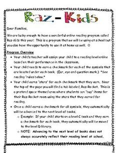 I use www.raz-kids.com with my students. I attach these letters in addition to the login cards and parent letter that are available on the teacher section. I have a systematic approach to how I would like my students to use this program and these letters describe items like only take a quiz up to 2 times etc. Letters For Kids, Letter To Parents, Parent Letters, 2nd Grade Classroom, School Classroom, Classroom Ideas, Teaching Kindergarten, Kindergarten Graduation, Kindergarten Websites