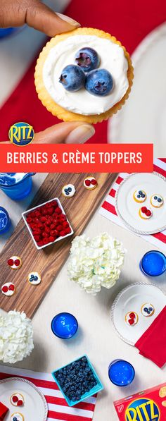 This simple recipe is a delicious way to celebrate the red, white and blue! Make RITZ Berries and Créme Toppers in just a few, simple steps for your next patriotic-themed party. Just follow these easy instructions: Spread crackers with thawed frozen whipped topping. Top with fresh blueberries or raspberries.