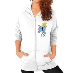 Blue Butterfly and Yellow Flower Zip Hoodie (on woman)