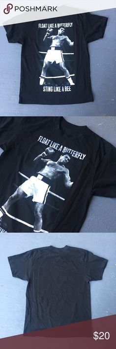 Muhammad Ali tee Black Muhammad Ali tee  Float like a butterfly sting like a bee  Excellent condition  No stains no damages no holes  Fits perfect to size  Willing to negotiate offer  Come check out the rest of my closet   Vintage vtg retro 90s Shirts Tees - Short Sleeve