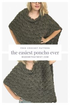 Finish this garment in one sitting! Quick, easy, and adjustable, this is the perfect FREE crochet poncho pattern for craft fairs and gifts and will become your favorite poncho to work up in a jiffy. #crochetponchopattern #easyponchopattern #quickcrochetponcho #crochetponcho #ponchocrochetpattern #freeponchopattern #freecrochetpattern #easiestcrochetponcho #crochet #poncho